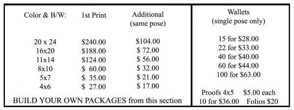 2018 Senior Price List Steve Irish Photography